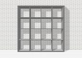 Grey Empty Square Bookshelf On White Brick Wall Background