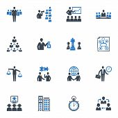 stock photo of line graph  - Set of 16 management and business icons - JPG