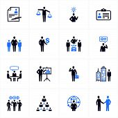 stock photo of recruiting  - Set of 16 management and human resource icons - JPG