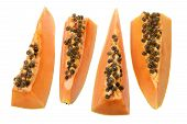 picture of pawpaw  - Row of Sliced Papaya on White Background - JPG