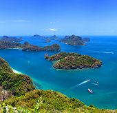 Tropical island nature, Thailand sea archipelago aerial panoramic view. Ang Thong National Marine Pa
