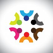 image of meeting  - Colorful design of a team of people or children icons - JPG