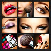 stock photo of blush  - Makeup Collage - JPG