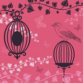 The Vector Illustration Of Birdcage And Butterflies