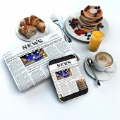 3D rendering of a breakfast, a folded newspaper and a tablet with the news