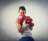 picture of pugilistic  - young woman boxer - JPG