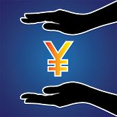 image of safeguard  - Vector illustration of protecting or safeguarding japanese yen - JPG