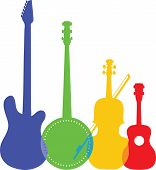 pic of banjo  - A group of silhouetted and colorful stringed instruments including an electric guitar a banjo a violin and a ukulele - JPG