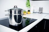 Big Pot In Modern Kitchen With Induction Stove