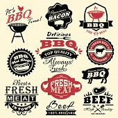 stock photo of bacon  - Collection of vintage retro BBQ badges and labels - JPG
