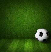 stock photo of football pitch  - Soccer or football playing field side view with ball - JPG
