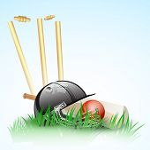 stock photo of cricket ball  - Abstract cricket background with stumps - JPG