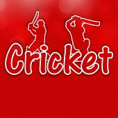 stock photo of cricket  - Sports concept with illustration of batsman and text Cricket on red background - JPG