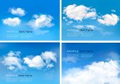 stock photo of condensation  - Blue sky with clouds - JPG