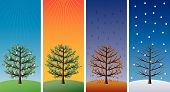 Постер, плакат: Four Seasons деревья