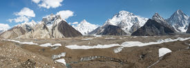 image of skardu  - K2 and Karakorum Peaks Panorama at Concordia Pakistan - JPG