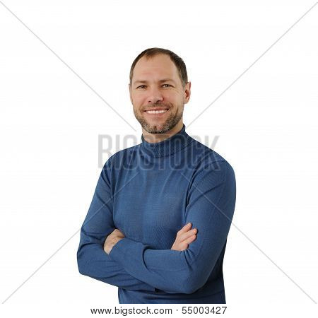 Smiling Man In Blue Isolated On The White Background