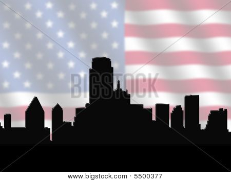 Dallas Skyline With American Flag