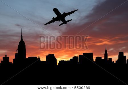 Plane Departing Manhattan