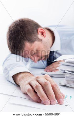 Sleeping businessman.