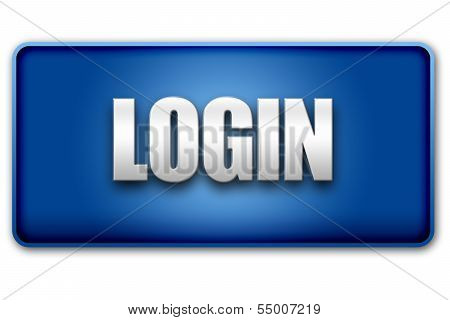 Login 3D Blue Button On White Background