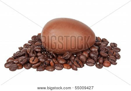 Chocolate Egg On Coffee Beans