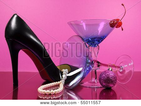 Pink Theme Happy New Year Party With Vintage Blue Martini Cocktail Glass And New Years Eve Decoratio