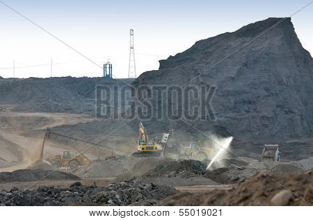 Dump of the coal mine and equipment