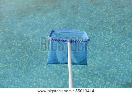 brailer in clear pool surface