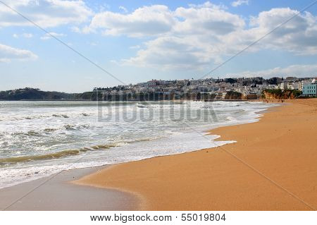 Beach And Town Of Albufeira, Algarve, Portugal
