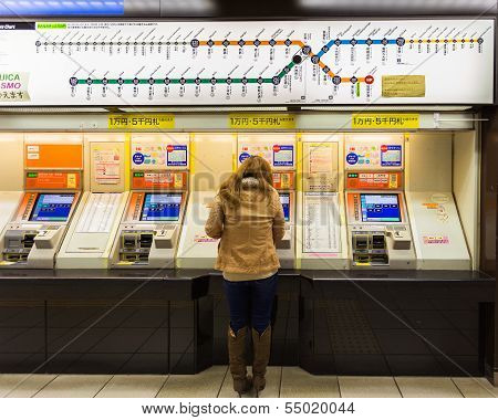 Buying train ticket from vending machines