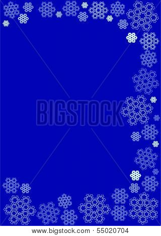 Intricate snowflakes in subdued, cold tone on dark blue background suitable for winter themed stationery