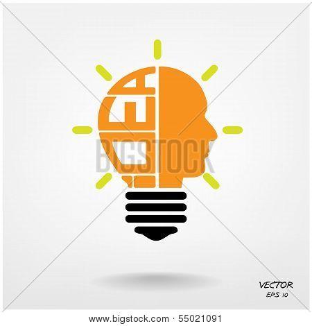 Creative Light Bulb,head Symbol, Business And Ideas Concepts.