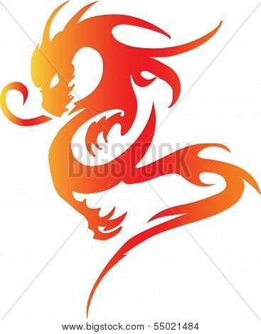 colorful dragon isolated on white background