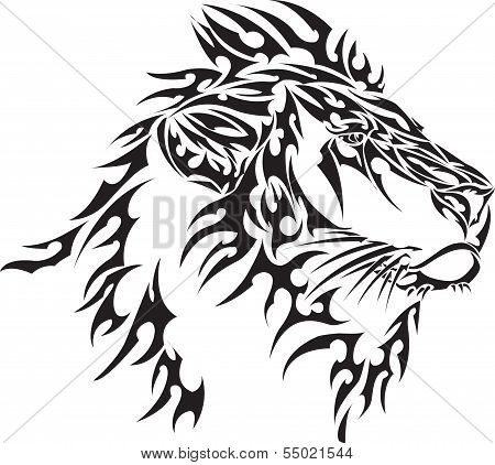 Vector image of tribal lion head