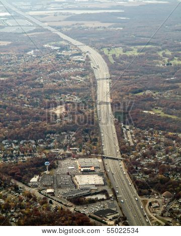 aerial view of major highway in new jersey