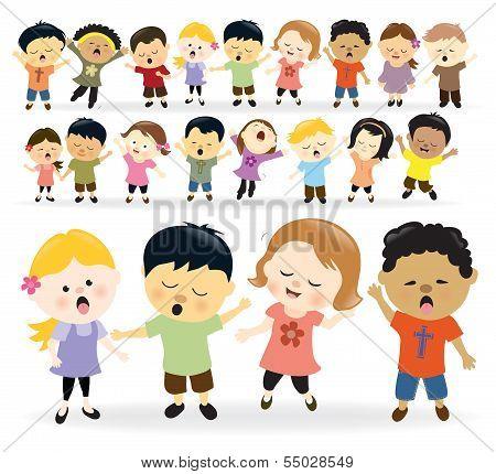 Group of kids singing