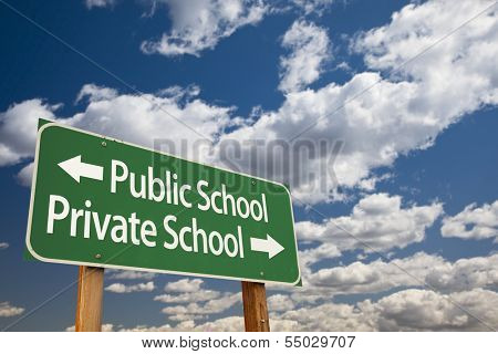 Public or Private School Green Road Sign Over Dramatic Clouds and Sky.