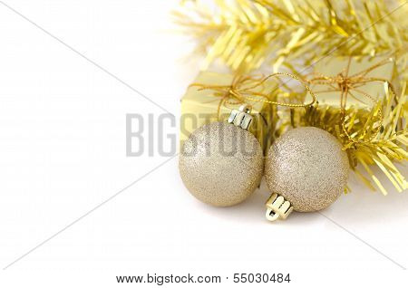 Two Gold Ball With Gift Box For New Year And Christmas