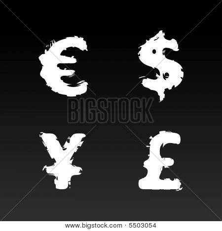 Grunge Vector Currency Symbols