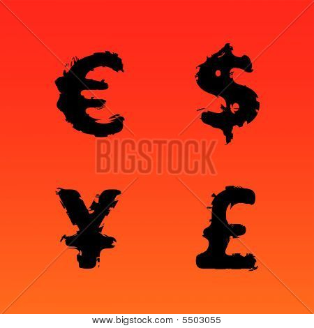 Currency Symbols Grunge Color