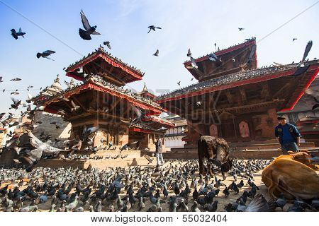 KATHMANDU, NEPAL - NOV 28: Old Durbar Square with pagodas, Nov 28, 2013 in Kathmandu, Nepal. Largest city of Nepal, its cultural center, a population of over 1 mill people, density of 19867 people/Km.