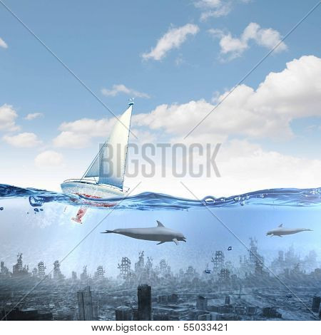 Floating yacht and dolphins swimming in water above sunken city