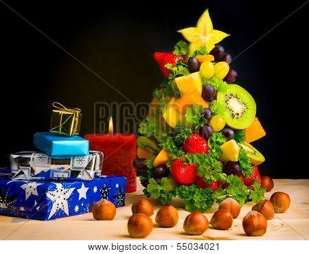 Christmas Tree made of Fruits