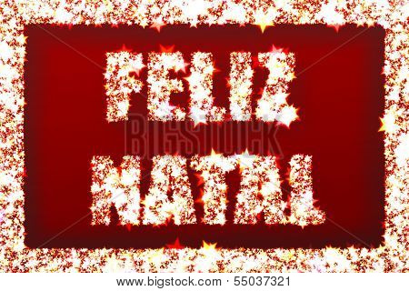 Greeting cards - Merry Christmas in Brazilian portuguese and shinning stars - Feliz Natal