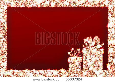 Greeting cards - Christmas gifts and shining stars on red background