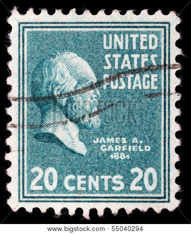 UNITED STATES - CIRCA 1938 : A stamp printed in United States. Displays a portrait of of James Abram Garfield (November 19, 1831 - September 19, 1881). United States - circa 1938