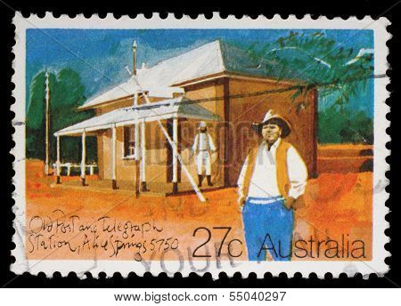 AUSTRALIA - CIRCA 1982: A Stamp printed in AUSTRALIA shows the Historic Australian Post Offices, Old Post Office and Telegraph Station, Alice Springs, series, circa 1982