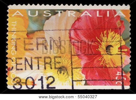 AUSTRALIA - CIRCA 1994: A stamp printed in Australia shows red and yellow flowers, circa 1994
