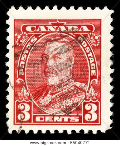 CANADA - CIRCA 1935: A stamp printed in Canada shows King George V in Uniform, circa 1935.